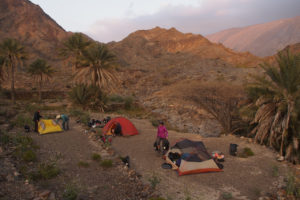 Camp in an oasis in the Jabal al Akhdar mountains.